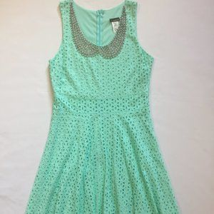 Grad Dress Mint Embroidered Lace Beaded Collar